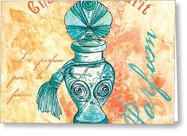 Powder Greeting Cards - Parfum Greeting Card by Debbie DeWitt