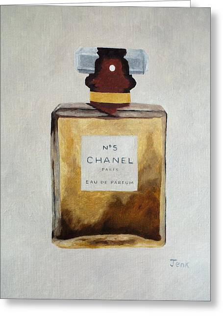 Fragrance Greeting Cards - Parfum No.5 Greeting Card by Rebecca Jenkins