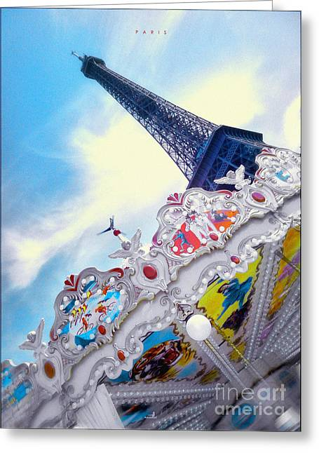 Eiffelturm Greeting Cards - Paris - Caroussel Greeting Card by ARTSHOT - Photographic Art
