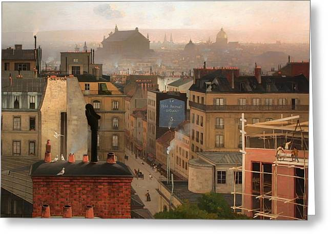 Haze Paintings Greeting Cards - Paris 1887 Greeting Card by Chittussi