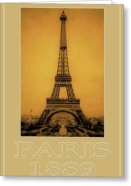 Vintage Eiffel Tower Greeting Cards - Paris 1889  Greeting Card by Andrew Fare