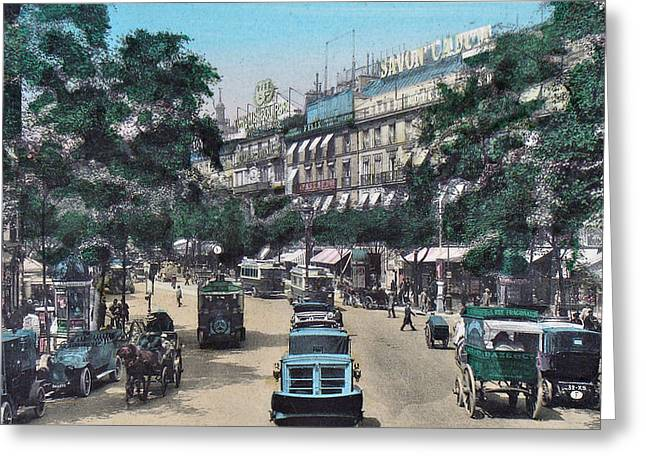 Belle Epoque Mixed Media Greeting Cards - Paris 1910 Boulevard des Italiens Greeting Card by Ira Shander
