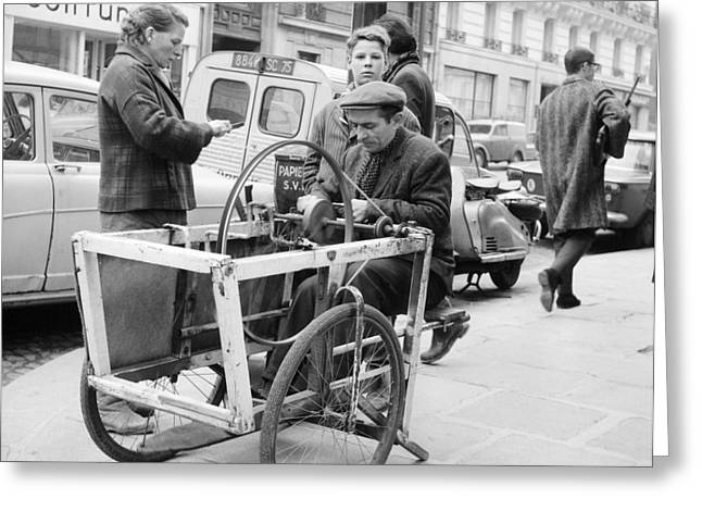 1960s Candids Greeting Cards - Paris 1960s Knife Sharpener Greeting Card by Glenn McCurdy