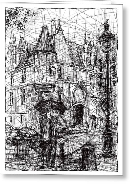 Night Lamp Drawings Greeting Cards - Paris 3 Greeting Card by Tatiana Ivchenkova