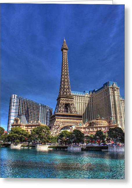 Bellagio Las Vegas Greeting Cards - Paris across from Bellagio  Greeting Card by Andrew Pacheco