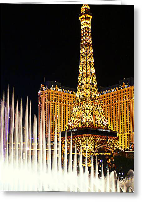 Paris And Bellagio Water Show Greeting Card by Ron Regalado