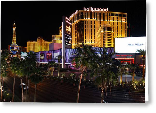 Planet Greeting Cards - Paris and Planet Hollywood - Las Vegas - 01131 Greeting Card by DC Photographer