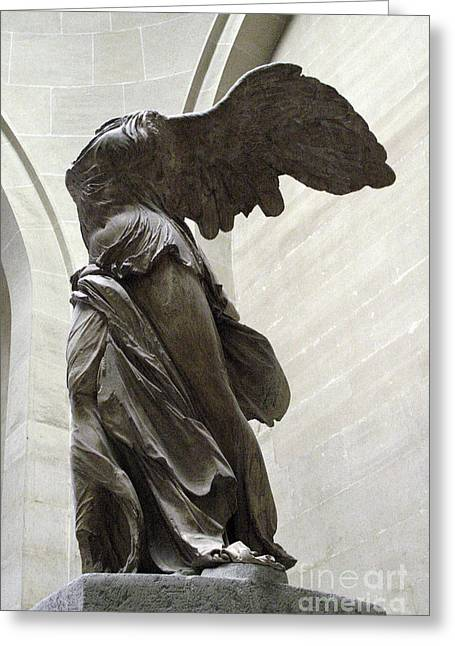 """winged Victory"" Greeting Cards - Paris Angel Louvre Museum- Winged Victory of Samothrace Greeting Card by Kathy Fornal"
