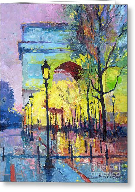 Streetscape Paintings Greeting Cards - Paris Arc de Triomphie  Greeting Card by Yuriy  Shevchuk
