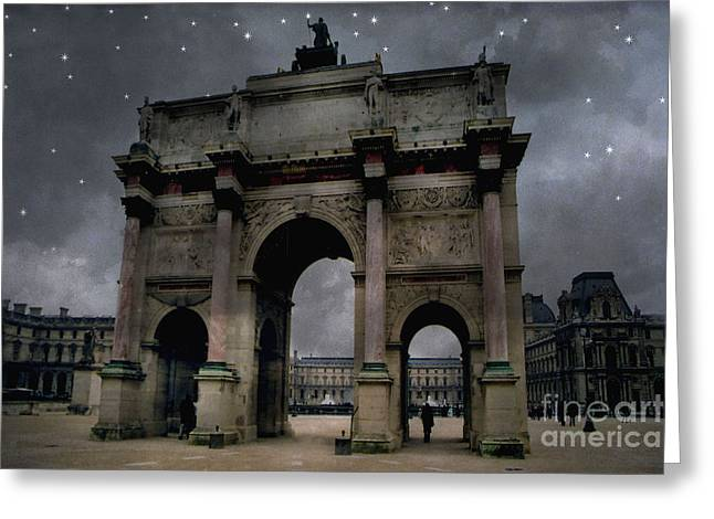 Paris In Blue Greeting Cards - Paris Arc du Carousel - Louvre Museum Arc de Triomphe - Starry Night Blue Paris Louvre Courtyard Greeting Card by Kathy Fornal
