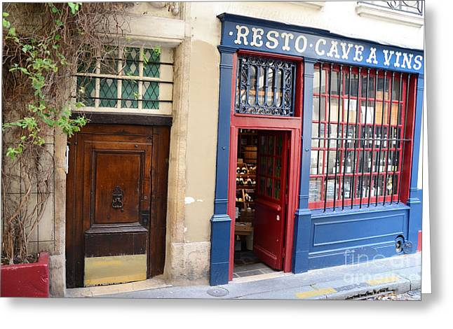 French Doors Greeting Cards - Paris Architecture Brown Door and Wine Shop - Paris Resto Cave A Vins Street Shoppe  Greeting Card by Kathy Fornal