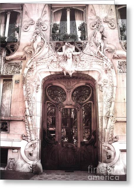 Paris Art Deco Doors - Paris Art Nouveau Doors And Paris Ornate Door Architecture Greeting Card by Kathy Fornal