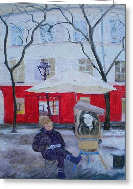 Street Artist Greeting Cards - Paris Artist, 2010 Oil On Canvas Greeting Card by Antonia Myatt