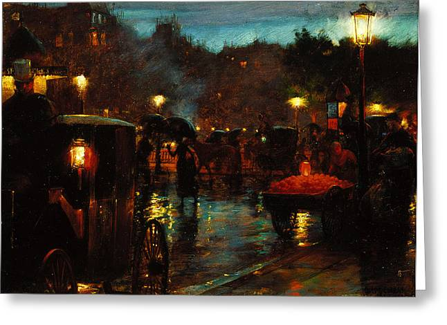 Paris At Night Greeting Cards - Paris at Night Greeting Card by Charles Courtney Curran