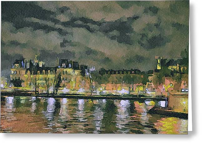 Old Town Digital Greeting Cards - Paris at Night Greeting Card by Yury Malkov