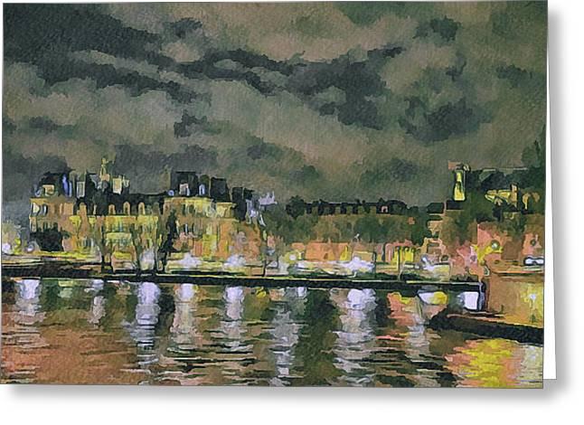 Old Town Digital Art Greeting Cards - Paris at Night Greeting Card by Yury Malkov