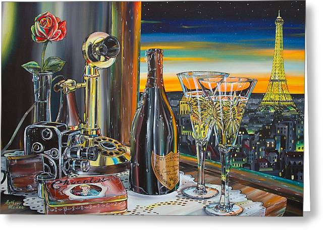Anthony Mezza Paintings Greeting Cards - Paris At Sunset Greeting Card by Anthony Mezza
