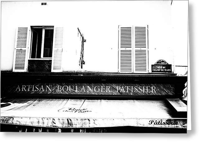 Bakery Poster Greeting Cards - Paris Bakery in black and white Greeting Card by Nomad Art And  Design
