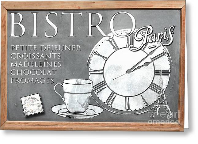 Eiffel Tower Mixed Media Greeting Cards - Paris Bistro Blackboard Sign Greeting Card by AdSpice Studios