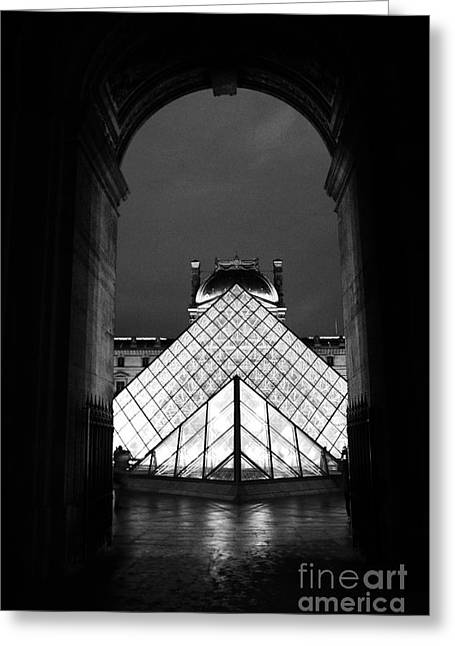 Pyramids Greeting Cards - Paris Black and White Louvre Museum Art - Louvre Black and White Pyramid Night Lights and Arch Greeting Card by Kathy Fornal
