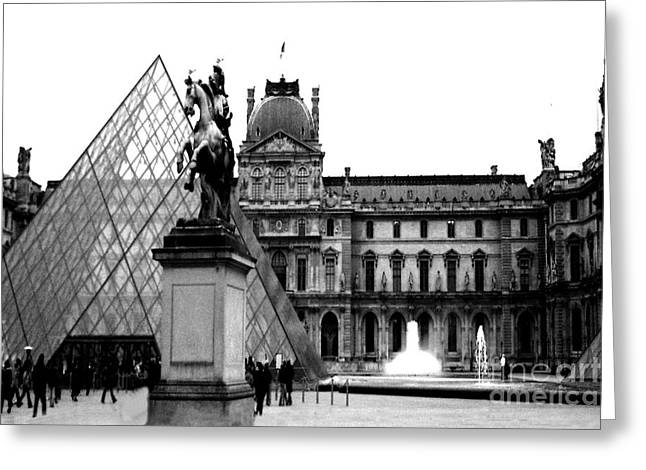 Paris Black And White Photography - Louvre Museum Pyramid Black White Architecture Landmark Greeting Card by Kathy Fornal