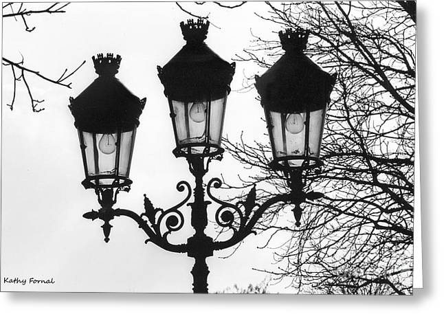 Print On Canvas Greeting Cards - Paris Street Lanterns Lamps - Surreal Black and White Paris Street Lamps Architecture Art Greeting Card by Kathy Fornal