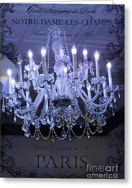 Chandelier Greeting Cards - Paris Blue Crystal Chandelier Sparkling Chandelier Art - Paris Blue Shimmering Chandelier Art Deco  Greeting Card by Kathy Fornal