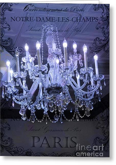 In Blue Greeting Cards - Paris Blue Crystal Chandelier Sparkling Chandelier Art - Paris Blue Shimmering Chandelier Art Deco  Greeting Card by Kathy Fornal