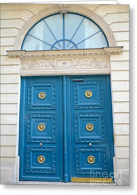 Paris Blue Door - Blue Aqua Romantic Doors Of Paris  - Parisian Doors And Architecture  Greeting Card by Kathy Fornal
