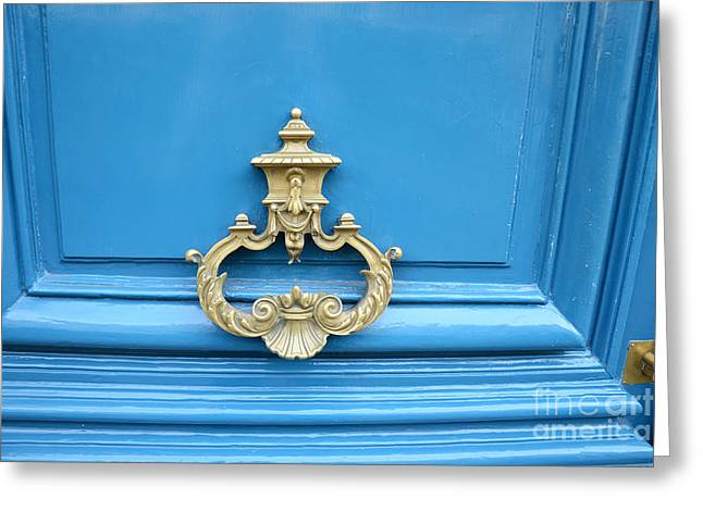 Paris Buildings Greeting Cards - Paris Blue Door Brass Knocker - Parisian Royal Blue Doors and Brass Paris Door Knockers Greeting Card by Kathy Fornal