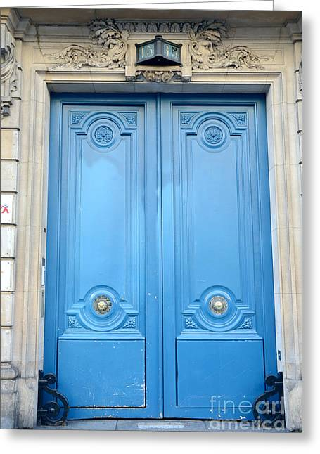 Paris Blue Doors No. 15  - Paris Romantic Blue Doors - Paris Dreamy Blue Doors - Parisian Blue Doors Greeting Card by Kathy Fornal