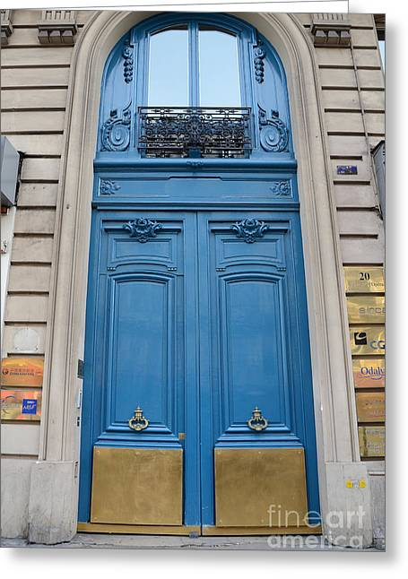 Paris Blue Doors - Paris Romantic Blue Doors - Paris Dreamy Blue Door Art - Parisian Blue Doors Art  Greeting Card by Kathy Fornal