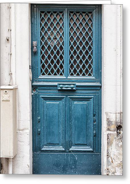 France Doors Greeting Cards - Paris Blue Greeting Card by Nomad Art And  Design