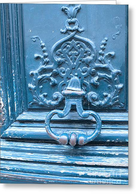 Paris Blue Vintage Door - Paris Antique Vintage Blue Door Knocker - Paris Door Architecture Greeting Card by Kathy Fornal