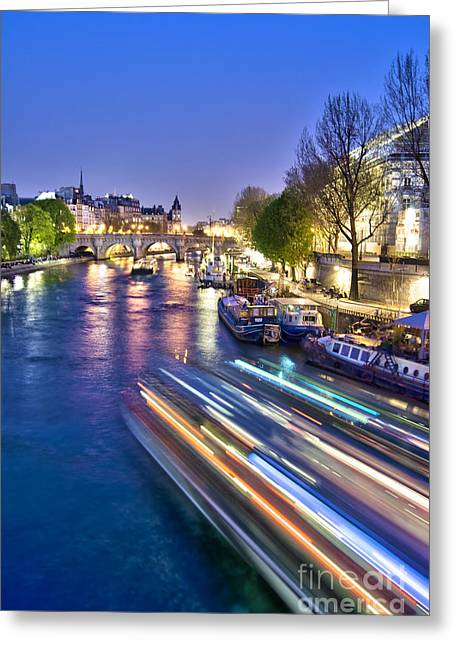 Paris At Night Greeting Cards - Paris blues Greeting Card by Delphimages Photo Creations
