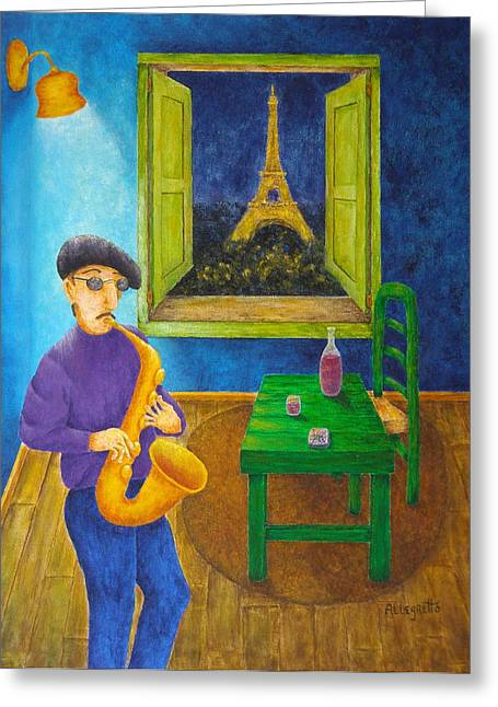 Champs Mixed Media Greeting Cards - Paris Blues Greeting Card by Pamela Allegretto