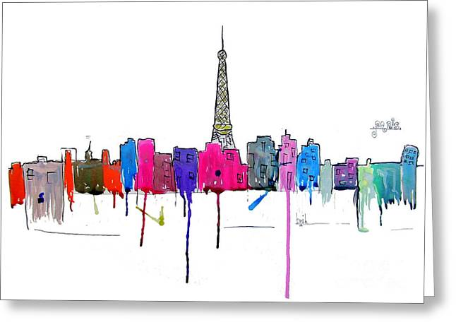 Paris At Night Greeting Cards - Paris  Greeting Card by Bri Buckley