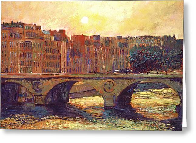 Stone Bridge Greeting Cards - Paris Bridge Over The Seine Greeting Card by David Lloyd Glover