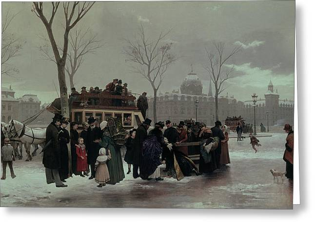 Omnibus Greeting Cards - Paris Bus Accident Greeting Card by Alphonse Cornet
