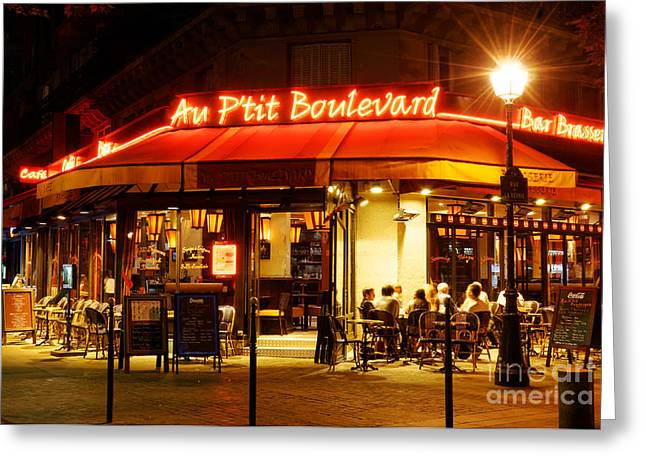 Night Cafe Greeting Cards - Paris Cafe at Night Greeting Card by Colin Woods