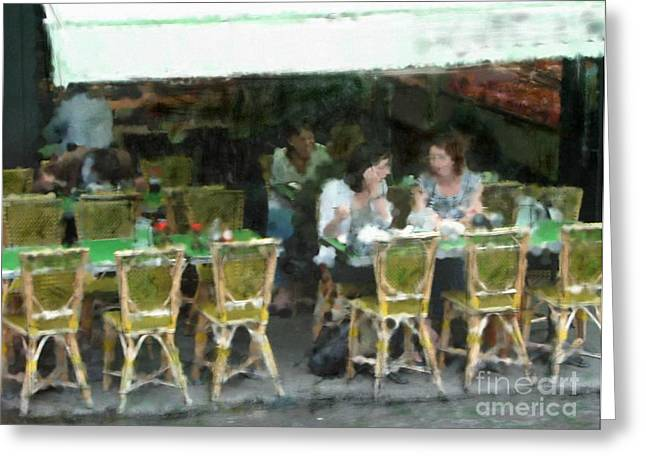 Cafe Pyrography Greeting Cards - Paris Cafe in Green Greeting Card by Susan Holsan