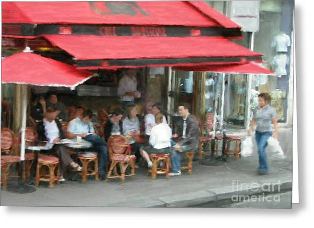 Cafe Pyrography Greeting Cards - Paris Cafe in Red Greeting Card by Susan Holsan