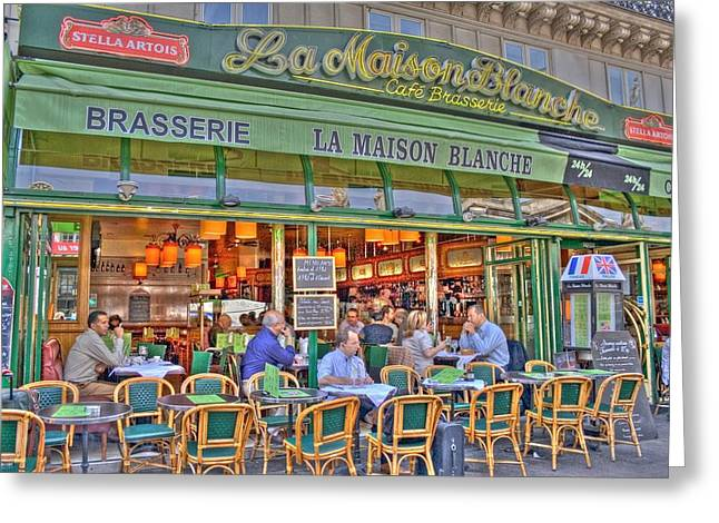 Paris Cafe In Summer Greeting Card by Matthew Bamberg