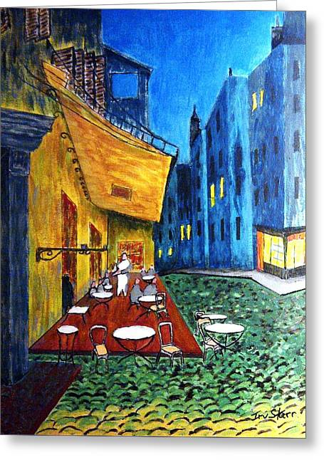 18th Century Greeting Cards - Paris Cafe Greeting Card by Irving Starr