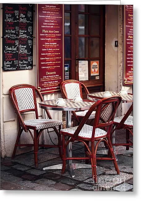 Menu Greeting Cards - Paris Cafe Greeting Card by John Rizzuto