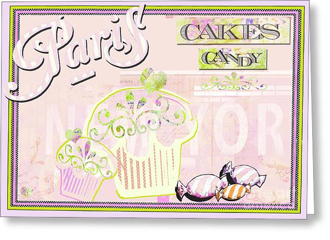 Juvenile Licensing Greeting Cards - Paris Candy Shop Greeting Card by AdSpice Studios