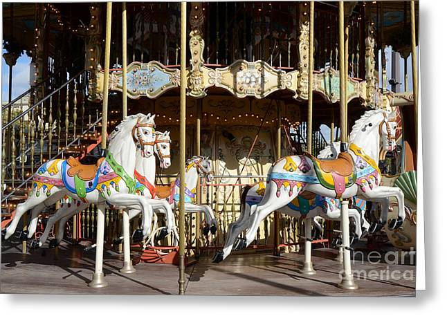 Paris Carousel Horses - Champs Des Mars - Paris Carousel Merry Go Round  Greeting Card by Kathy Fornal