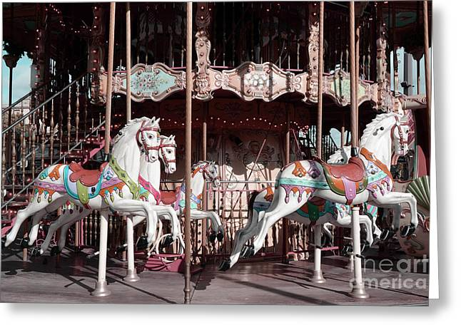 Paris Carousel Horses Merry Go Round - Paris Eiffel Tower Carousel Horses Merry Go Round Greeting Card by Kathy Fornal