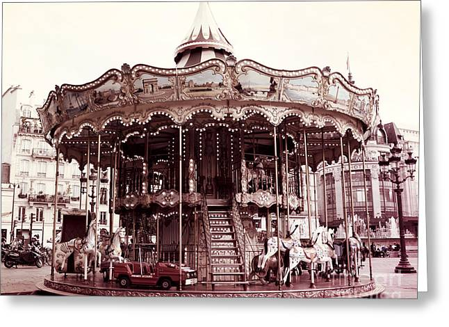 Paris Carousel Merry Go Round At Hotel De Ville - Paris Carousel Horses At Hotel De Ville Greeting Card by Kathy Fornal