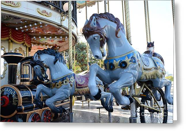 Horses Art Print Greeting Cards - Paris Carousel Merry-Go-Round Horses - Paris Blue Carousel Horses - Baby Boy Blue Nursery Carousel Greeting Card by Kathy Fornal